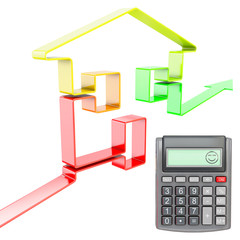 happy calculator with increasing real estate value, 3d rendering
