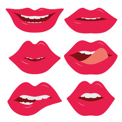 Set of female lips on a white background. Various emotions.