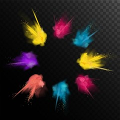Realistic colorful paint powder explosions on black/transparent background. Abstract powder splatted background. Vector illustration