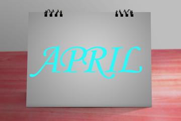 """APRIL""  write on Desktop Calendar Mockup"