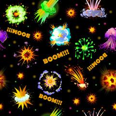 Cartoon Explosions Seamless Pattern