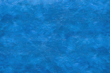 Abstract dark blue waves oil paint background with brush strokes on canvas.
