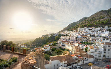 Scenic view of Mijas village at sunset. Costa del Sol, Andalusia, Spain