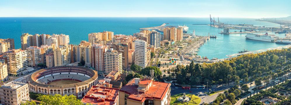 Cityscape of Malaga city. Bull Ring, Plaza la Malagueta, Andalusia, Spain