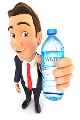 3d businessman holding water bottle