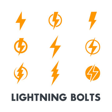 Lightning bolt vector signs, icons isolated over white