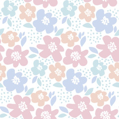 tender color floral vector illustration in retro 60s style. abstract hand drawn flowers seamless pattern for fabric, wrapping paper, baby projects.