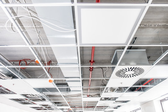 Opened hung ceiling