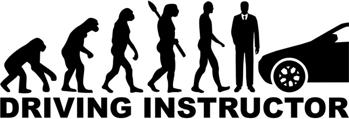 Wall Mural - Driving instructor evolution with job title