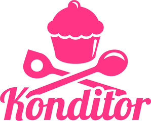Confectioner german job title with cupcake and tools