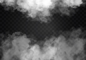 Poster de jardin Fumee Fog or smoke isolated transparent special effect. White vector cloudiness, mist smog background. illustration