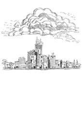 Cityscape sketch Vector illustration