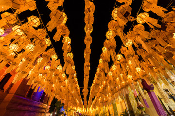 The line of Lantern in Loy krathong festival. Lightened lanterns by the night. Colorful Lamp and lantern in Loi Krathong Wat Phra That Haripunchai ,Lamphun ,Thailand
