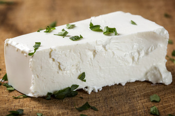 Close up of one piece of fresh feta cheese