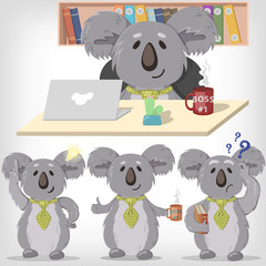 Set of vector illustrations of koalas. Koala in the office
