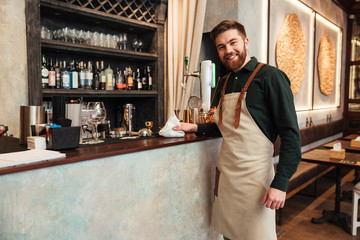 Happy young bearded man bartender standing in cafe.