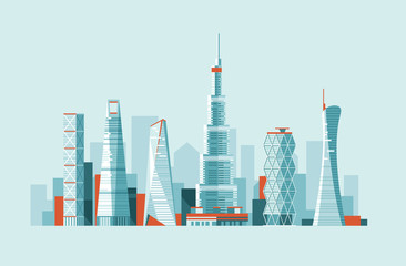 Modern urban landscape. Buildings and skyscrapers of different height. Flat vector illustration. 3d style.