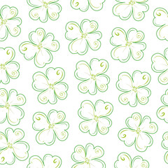lucky clover field/ Seamless vector pattern with pinstripes similar to a plant with four leaves