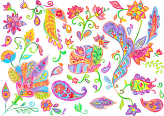 Hand drawn flower pattern. Colorful botanic texture with flowers, paisley and leafs.  Isolated objects on a white background. All elements are not cropped. Doodle style, spring floral background.