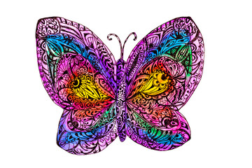 Hand drawn with watercolor abstract zen-tangle rainbow butterfly for your design. Use for cards, invitation, pattern fills, web pages elementsю  Isolated object on a white background. .