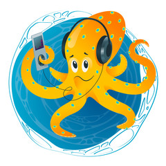 Funny octopus listens to the audio player. Sticker