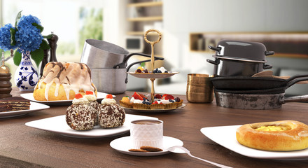 Sweets and desserts on wooden table