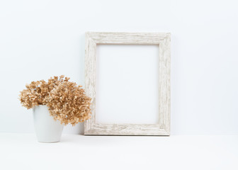 White rustic wooden frame template