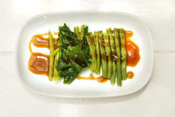 Kale and yard long bean boiled with sauce oyster