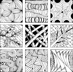 Hand drawn zentangle background for coloring pag