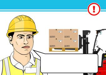 Forklift safety. Flat vector.
