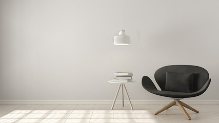 Scandinavian minimalistic background, gray armchair with table and pendant lamp on herringbone natural parquet flooring, interior design