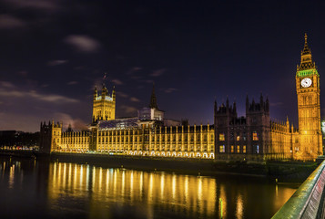 Big Ben Tower Westminster Bridge Nght Houses of Parliament Westminster London England