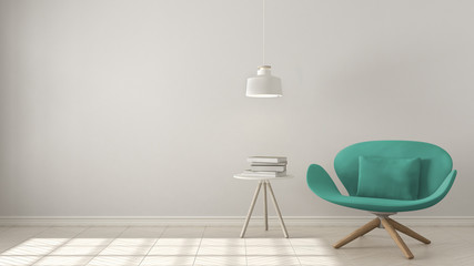 Scandinavian minimalistic background, turquoise armchair with table and pendant lamp on herringbone natural parquet flooring, interior design