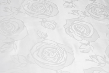 texture of silk fabric; background. White Rose. White silk factories. flowers