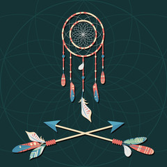 Vector dream catcher with colorful feathers and crossed arrows on dark background. Elegant tender design for card, website, wrapping, background. Ethnic boho  elements of nature