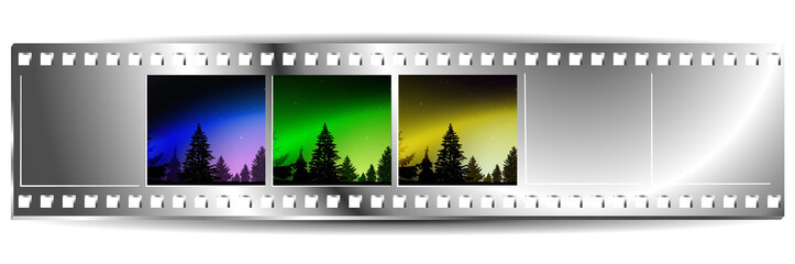 Film  strip  with set of three colorful nature landscapes. Night. Northern lights. Silhouette of pine trees. Blue, green and yellow tones.