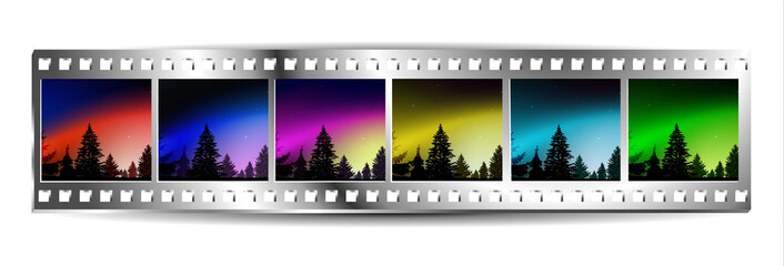 Film  strip  with set of six colorful nature landscapes. Night. Northern lights. Silhouette of pine trees.