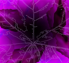 Abstract background. Leaf veins. Stone cubes. Violet  tones.