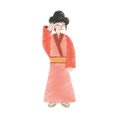 drawing character japanese woman attire costume vector illustration eps 10