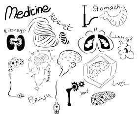 Medicine set of funny organs.
