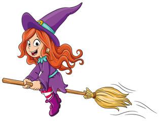 Niedliche Hexe auf Besen - Vektor-Illustration
