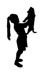 Silhouette of happy girl with long hairs keeping on hand dog.
