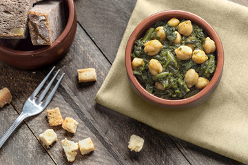 Chickpea stew with spinach. Traditional Spanish recipe.