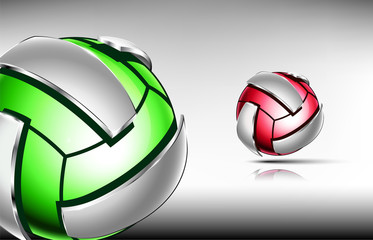 3d abstract logo of volleyball ball. Neon sphere with silver elements around outside . Red and green tones.