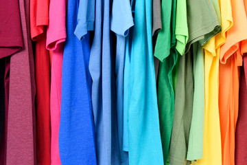 Colourful clothes hanging abstract background