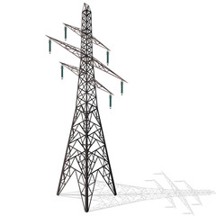 Vector high voltage pylon on white background in isometric 3d perspective. Metal pole voltage, isolated background. Industrial illustration. Power line pylon with safety locks. Nuclear facilitie power
