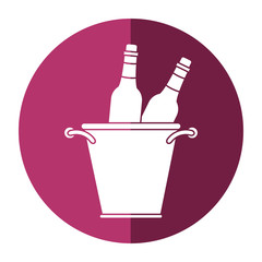 glass bottles wine bucket shadow vector illustration eps 10