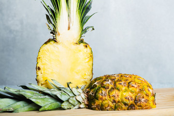 Fresh juicy pineapple on the table