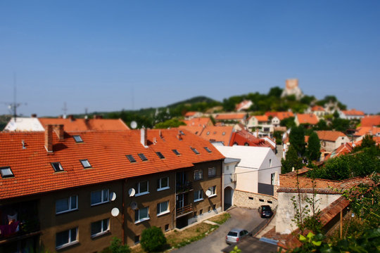 The view of Mikulov city from the top with tilt-shift effect, Czech Republic.