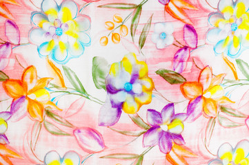 Fabric silk texture, abstract flowers